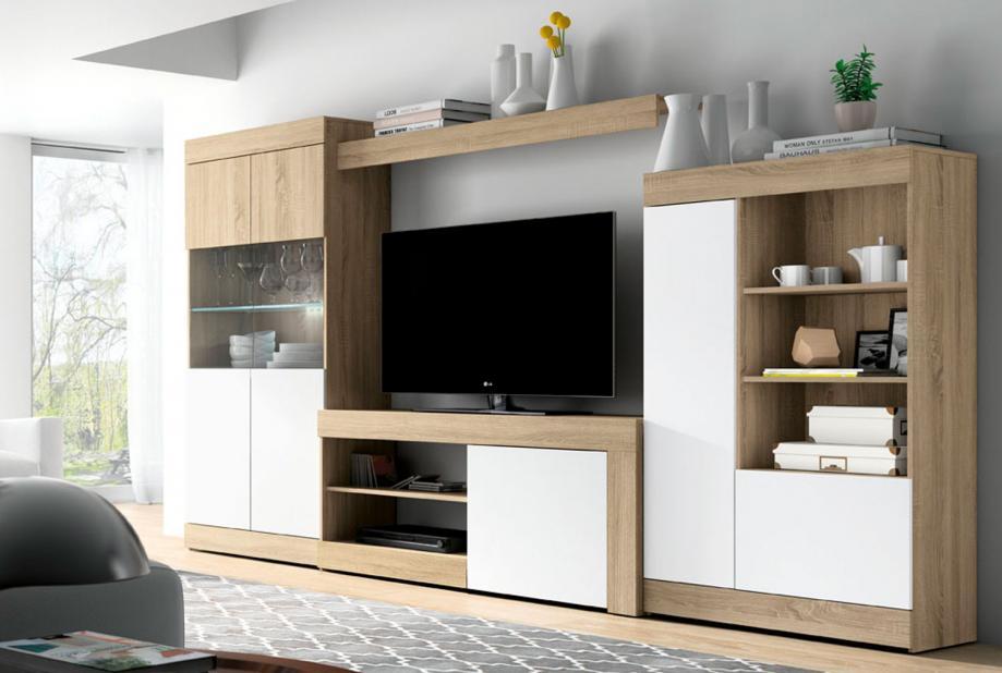 Composición de salón moderna y barata de 295 cm en blanco y cambrian - Logan