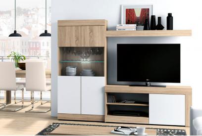Composición de salón moderna y barata de 215 cm en blanco y cambrian - Logan