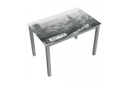 Mesa de cristal moderna y barata serigrafiado london con estructura gris