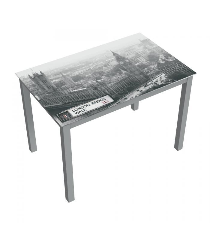 Mesas de comedor liquidatodo mesa de cristal moderna y for Mesa cristal gris