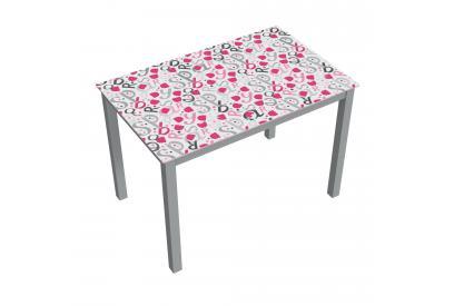 Mesa de cristal moderna y barata serigrafiado rasppberries y estructura gris