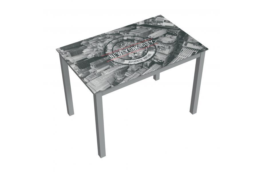 Mesa de cristal moderna y barata serigrafiado new york city y estructura gris