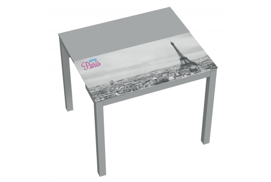 Mesa de cocina extensible moderna y barata con estructura en gris y  serigrafia Paris