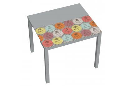 Mesa extensible de cocina moderna y barata con estructura en gris y serigrafia lovely fruits