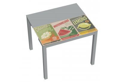 Mesa de cocina extensible moderna y barata con estructura en gris y serigrafia fruits