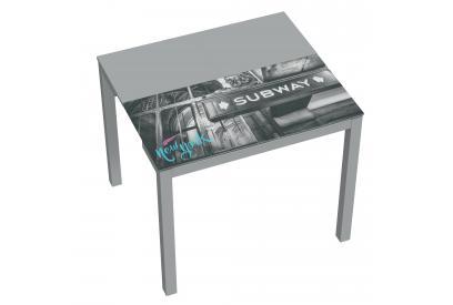 Mesa de cocina extensible moderna y barata con estructura en gris y serigrafia new york