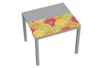 Mesa de cocina extensible moderna y barata con estructura en gris y serigrafia citrus