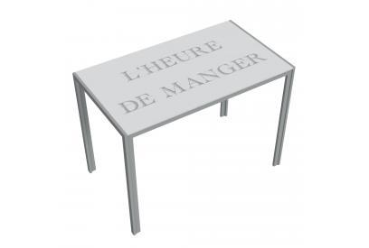 Mesa de cocina extensible moderna y barata con estructura en gris y serigrafia texto