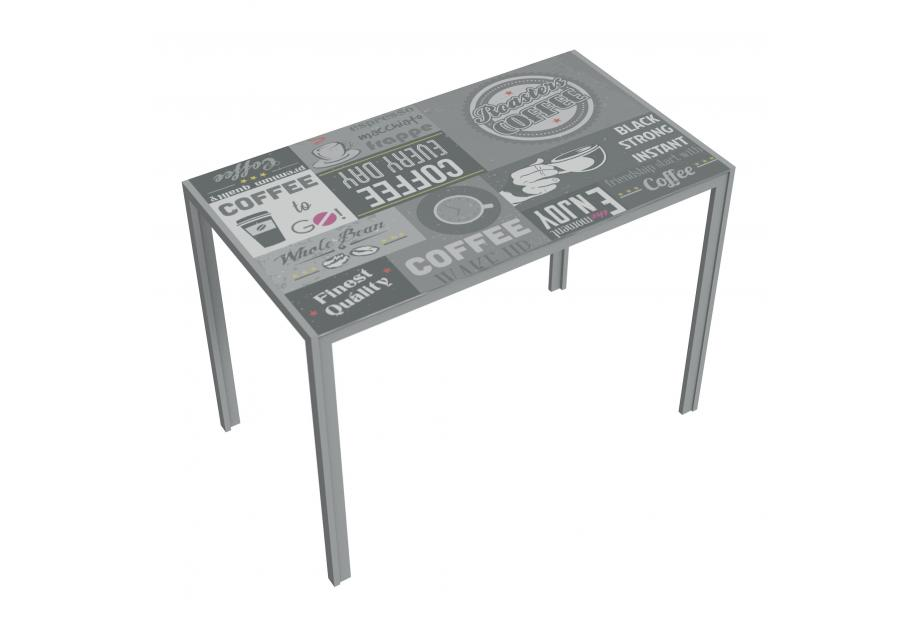 Mesa cocina moderna y barata estructura gris y serigrafiat coffee