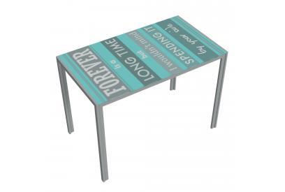 Mesa cocina moderna y barata estructura gris y serigrafia by your side