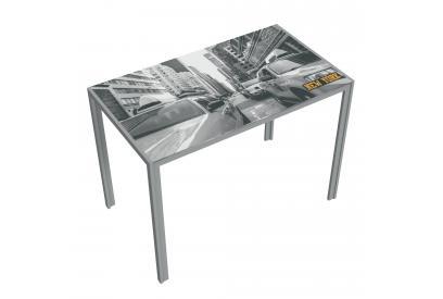 Mesa cocina moderna y barata estructura gris serigrafia new york