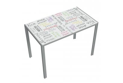 Mesa cocina moderna y barata estructura gris serigrafia organic fruits
