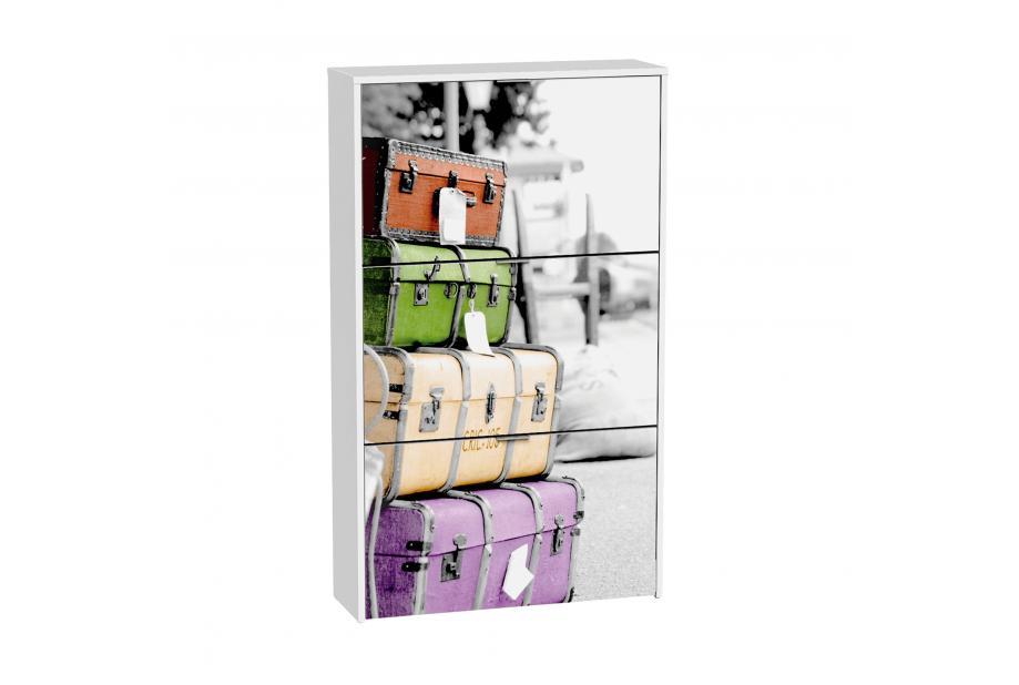 Zapatero 3 trampones moderno y barato blanco/maletas.