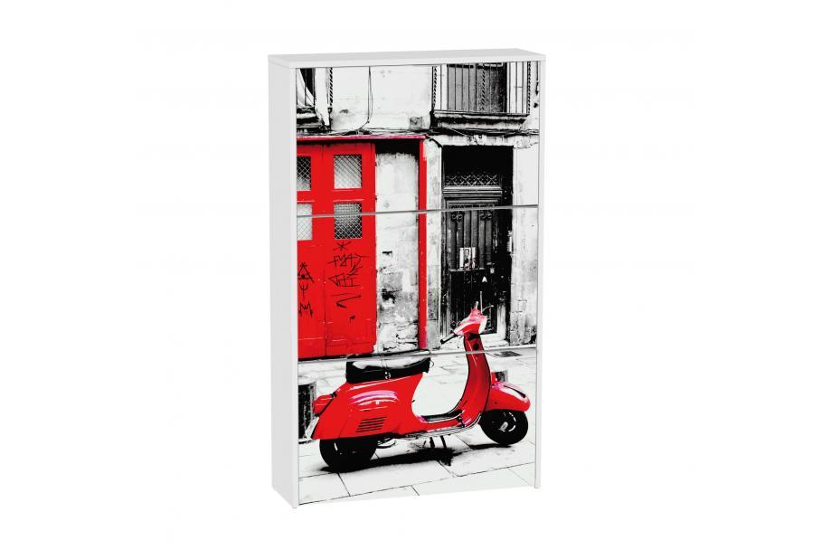 Zapatero 3 trampones moderno y barato blanco/vespa roja.
