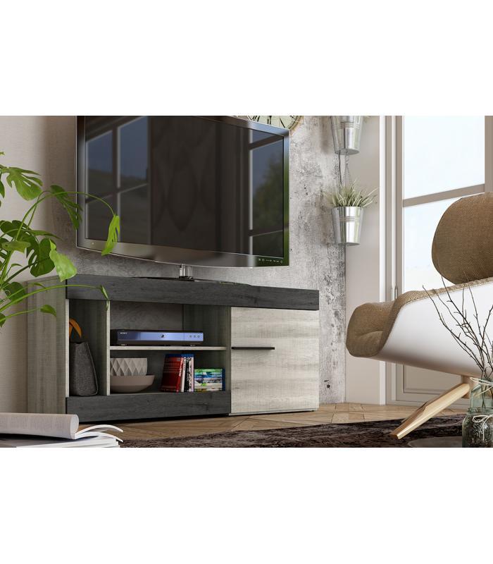 Muebles de tv liquidatodo mueble de tv moderno y barato 1 puerta y 3 huecos color coral y ebony - Muebles television baratos ...
