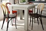 Mesa de comedor extensible de 90 a 180 cm moderna y barata en color coral