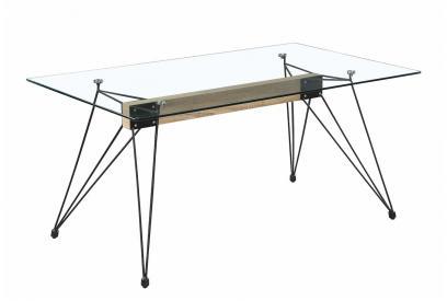 Mesa de comedor moderna y barata con estructura mdf y patas acero macizo/cristal transparente.