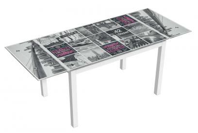 Mesa de cristal extensible moderna y barata serigrafiada new york y acero pint.blanco