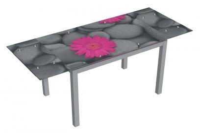Mesa de cristal extensible moderna y barata serigrafiado flower stone y acero pint.gris
