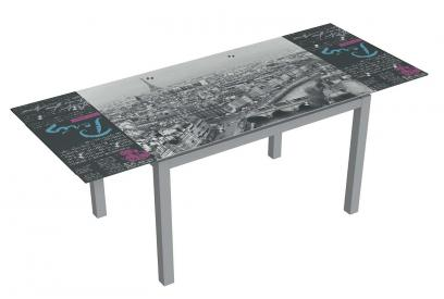 Mesa de cristal extensible moderna y barata serigrafiada paris con estructura gris
