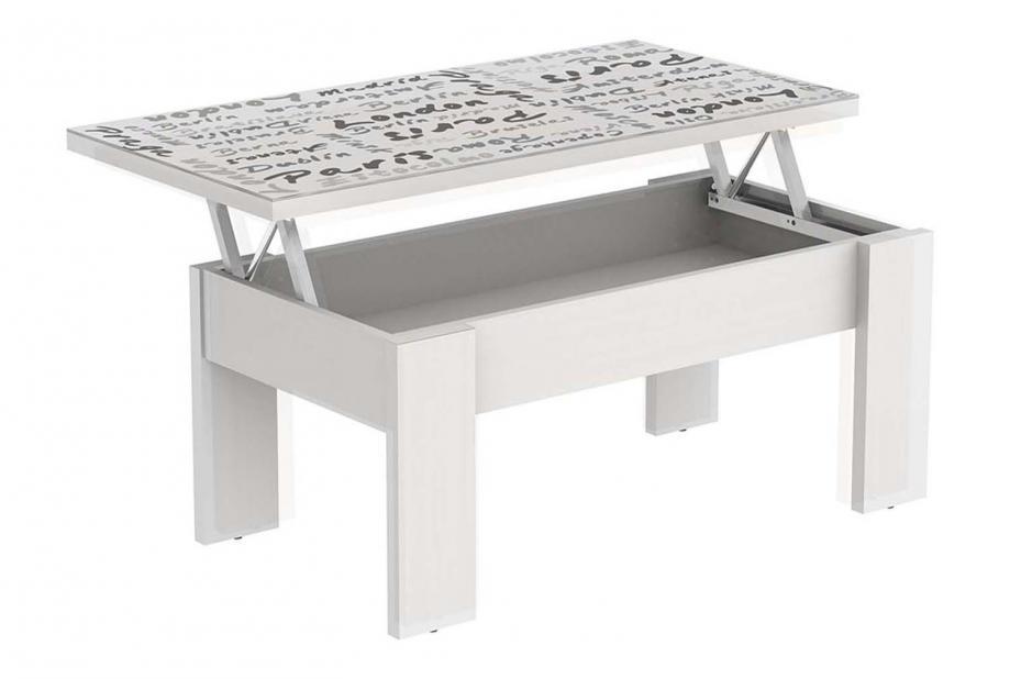 Mesa de centro elevable moderna y barata blanco/ tapa cristal Europe.