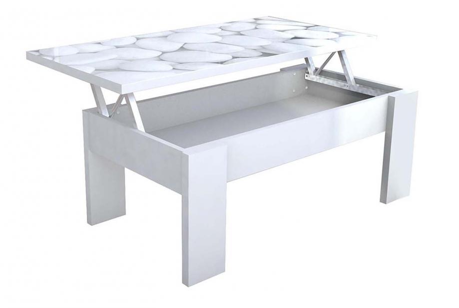 Mesa de centro elevable moderna y barata en color blanco y tapa cristal stones