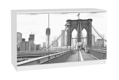 Aparador de 3 puertas moderno y barato blanco/panoramica puente brooklyn