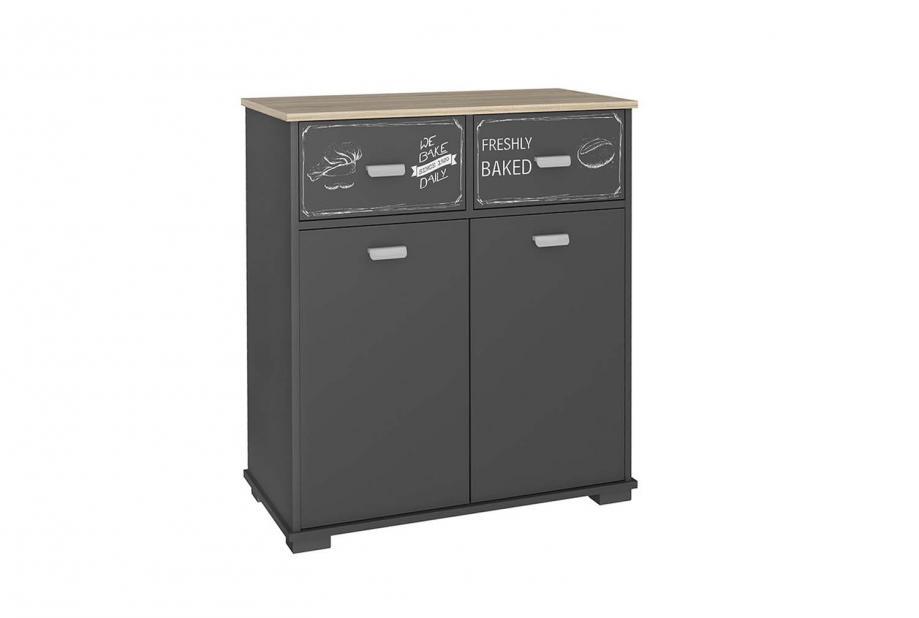 Aparador 2 puertas 2 cajones 1 estante moderno y barato gris grafito/bakery