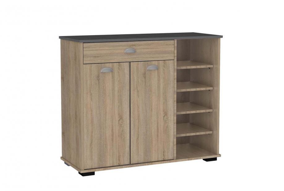 Aparador 2 puertas 1 cajón con estantes moderno y barato en color aserrado/gris oscuro.